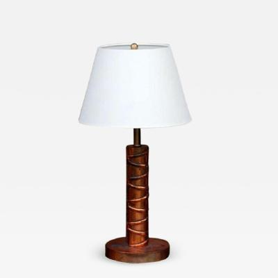 Heavy Copper Table Lamp with Custom Linen Shade