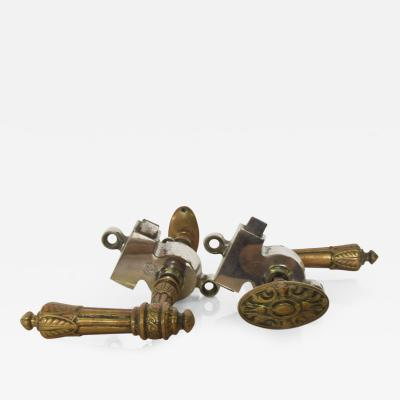 Hector Guimard Antique Pair Brass French Regency Door Pulls Handle Lever Knobs stamped FRANCE