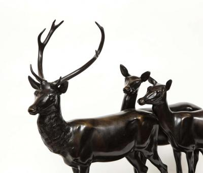 Heinrich Karl Scholz Heinrich Karl Scholz Austria 1880 1937 A Fine Patinated Bronze Group of Deer