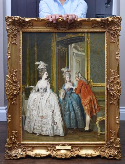 Heinrich Lossow Marie Antoinette at Versailles 19th Century French Oil Painting