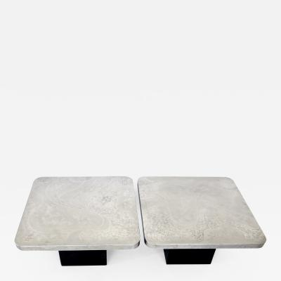 Heinz Lilienthal A Pair of Heinz Lilienthal Etched Stainless Steel Coffee Tables or Side Tables