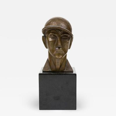 Helena Simkhovitch Midcentury Bronze Sculpture The Jockey by Helena Simkhovitch