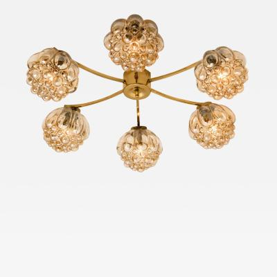 Helena Tynell Large Amber Bubble Glass Chandelier Helena Tynell 1960
