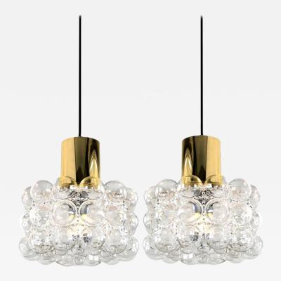 Helena Tynell Pair of Beautiful Bubble Glass Pendant Lamps by Helena Tynell 1960