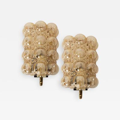 Helena Tynell Pair of Glass Wall Lights Sconces by Helena Tynell for Glash tte Limburg 1960