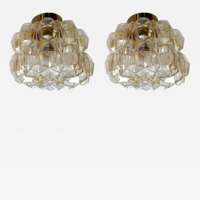 Helena Tynell Pair of Limburg glass brass signed Mid Century Modern flush mounts sconces