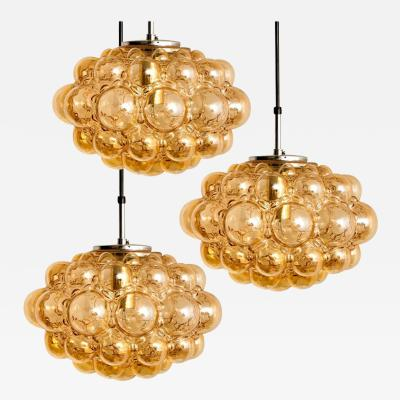 Helena Tynell Set of 3 Amber Bubble Glass Pendant Lamp by Helena Tynell 1960