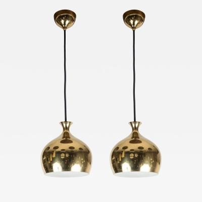 Helge Zimdal 1960s Brass Perforated Onion Pendants by Helge Zimdal for Falkenberg