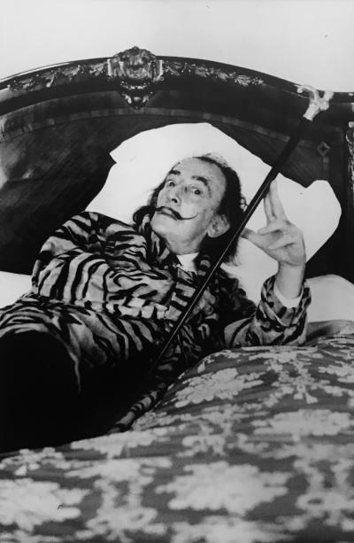 Helmut Newton Salvador Dali in The Hotel Meurice Paris 1973
