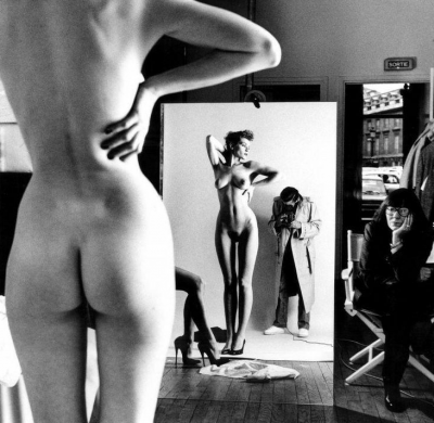 Helmut Newton Self Portrait With Wife and Models Vogue Studio Paris 1989
