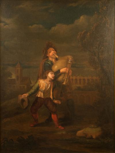 Hendrick Frans Diamer Hendrick Frans Diamer Flemish c 1690 1770 A piper and his companion