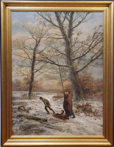 Hendrik Barend Koekkoek A Family Walking Through A Dutch Winter Landscape