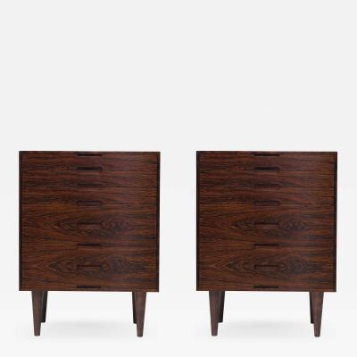 Henning Kjaernulf Brazilian Rosewood Nightstand Cabinets A Pair