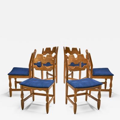 Henning Kjaernulf Set of 6 Razorblade Dining Chairs by Henning Kjaernulf Denmark 1960s