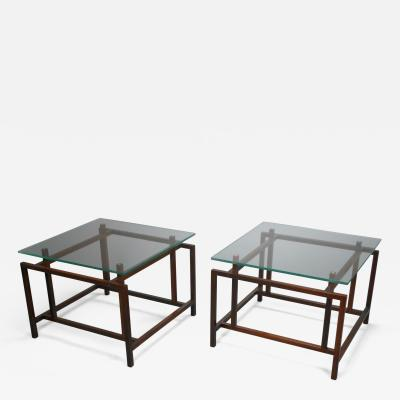 Henning N rgaard A Pair of Danish Rosewood Tables with Glass Tops by Henning Norgaard
