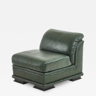 Henredon Green Leather Chair 1980