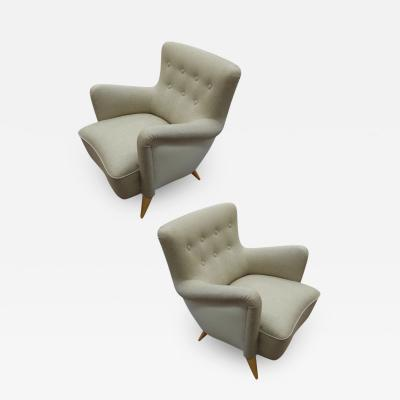 Henri Caillon Henri Caillon for Erton iconic french 50s comfy pair of chairs fully restored
