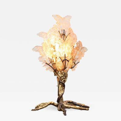 Henri Fernandez Beautiful Unique Brass Tree Table Lamp by Henri Fernandez