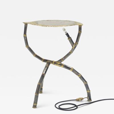 Henri Fernandez Brutalist signed Henri Fernandez side table agate stone brass 1970s