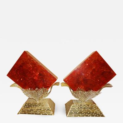 Henri Fernandez Important pair of brass and resin flower lamps by Henri FERNANDEZ 1970s