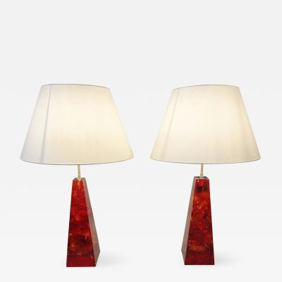 Henri Fernandez Impressive Pair of Resin Obelisk Table Lamps 1970 by Henri Fernandez France