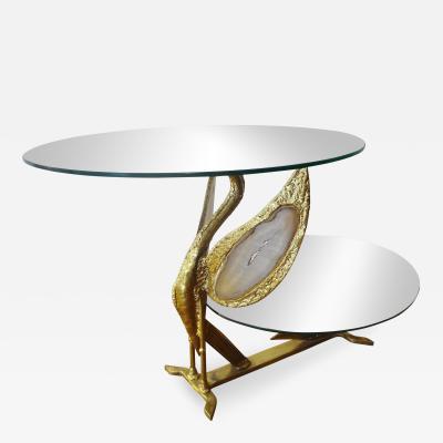 Henri Fernandez Original Gilt Sculpted Brass Coffee Table by H Fernandez 1970s