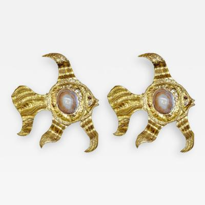 Henri Fernandez Pair of Rare Henri Fernandez Fish Wall Sconces with Agates