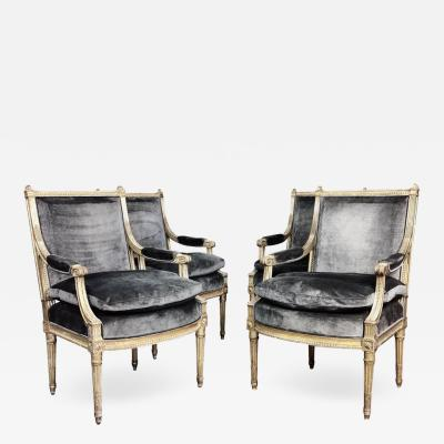 Henri Jacob 4 Louis XVI Style Chairs Armchairs 19th Century France