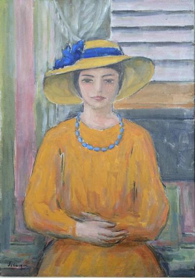Henri Lebasque Jeune fille a la robe et au chapeau jaunes