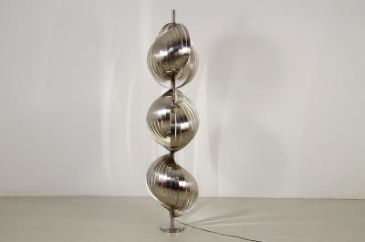 Henri Mathieu Henry Mathieu floor lamp Moon with 3 steel light shades France 1970s