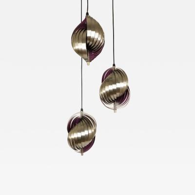 Henri Mathieu Metal Pendant designed by Henri Mathieu in purple 1970s