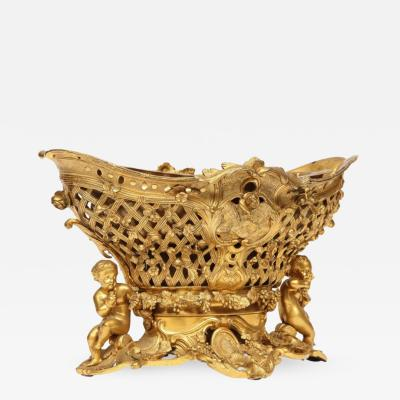 Henri Picard Fine French Rococo Ormolu Bronze Basket Centerpiece with Putti Henri Picard