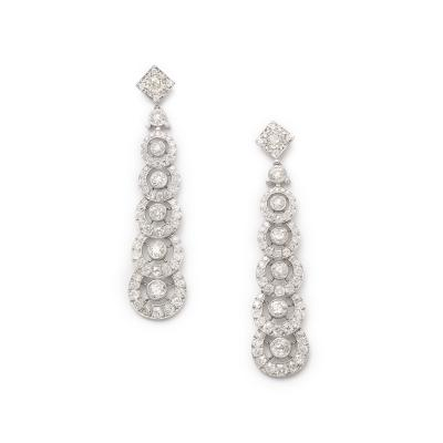 Henri Picq Art Deco Diamond Pendant Earrings