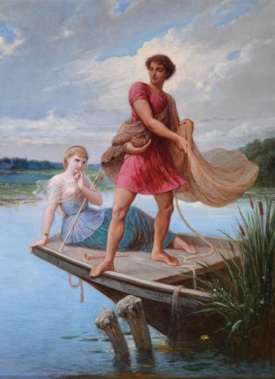 Henri Pierre Picou Tircis Amarante Large 19th Century French Neoclassical Oil Painting