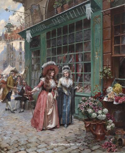 Henri Victor Lesur Outside the Lace Shop
