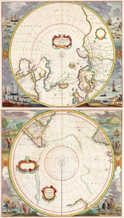 Henricus Hondius A pair of 17th century maps of the Poles with illustrated borders