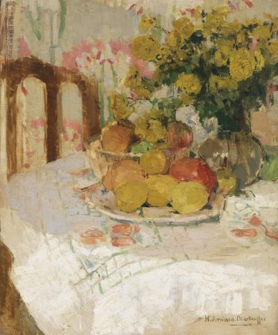 Henriette Amiard Oberteuffer Still Life with Fruit and Flowers c 1920