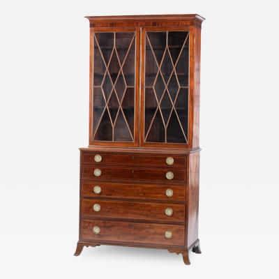 Henry Connelly Philadelphia Federal Inlaid and Figured Mahogany Desk and Bookcase circa 1800