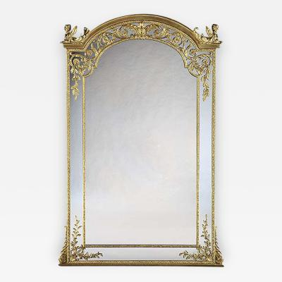 Henry Dasson Important French 19th Century Ormolu Mirror with Sphinxes of Monumental Size