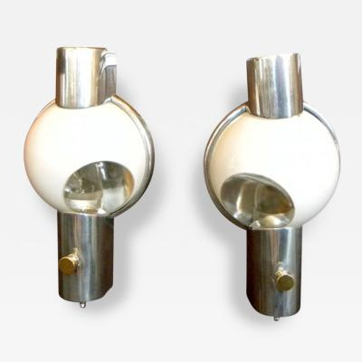 Henry Dreyfuss Pair of Art Deco Streamline Wall Sconces by Dreyfuss for 20th Century Ltd Train