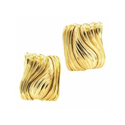 Henry Dunay Dunay Estate Fluted Gold Ear Clips
