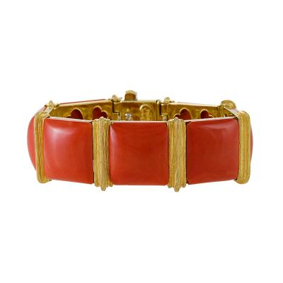Henry Dunay Gold and Coral Bracelet by Henry Dunay