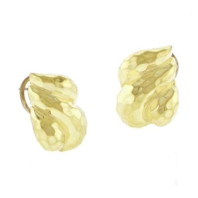 Henry Dunay Henry Dunay Signature Hammered Gold Earrings