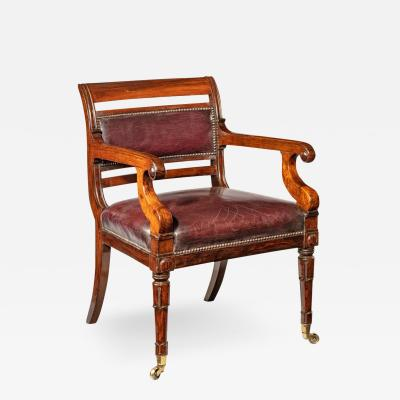 Henry Holland A rosewood library chair in manner of Henry Holland made for Senior Service Club
