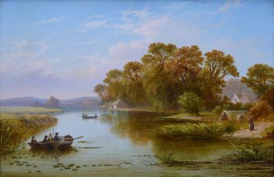 Henry John Boddington The Thames near Hampton 19th Century English River Landscape Oil Painting