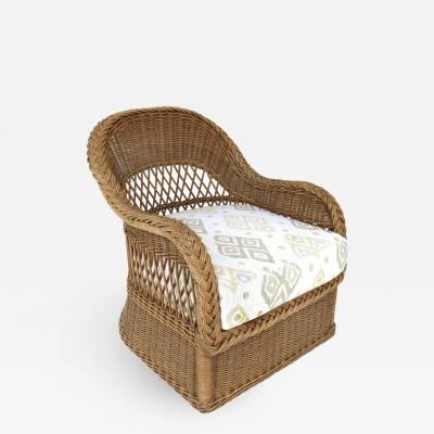 Henry Link Henry Link Woven Wicker Club Chair Newly Upholstered