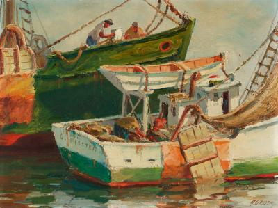 Henry Martin Gasser Getting Ready Gloucester Fishing Boat