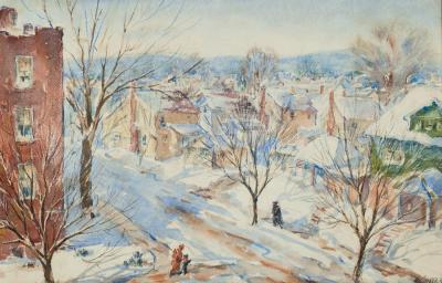 Henry Martin Gasser Newark Street Snow Scene in Sunlight with Figures