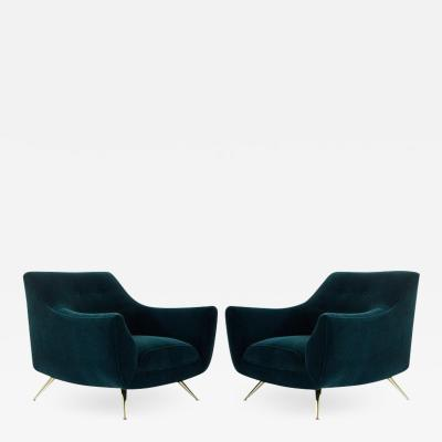 Henry P Glass Henry Glass Lounge Chairs in Dark Teal Mohair
