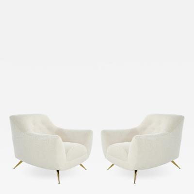 Henry P Glass Mid Century Modern Henry Glass Lounge Chairs in Boucl